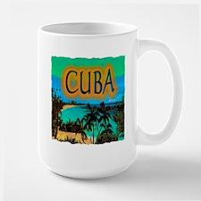 cuba beach art illustration Large Mug