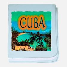 cuba beach art illustration baby blanket
