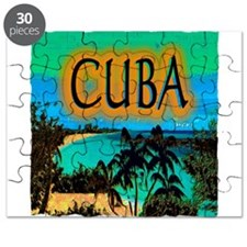cuba beach art illustration Puzzle