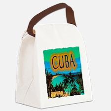 cuba beach art illustration Canvas Lunch Bag