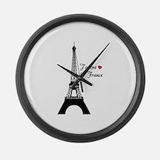 J'adore la France Large Wall Clock