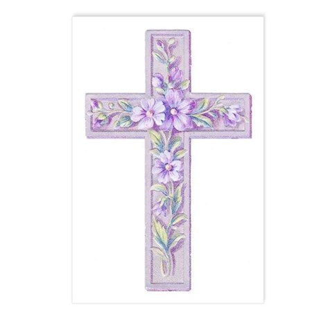 Purple Easter Cross Postcards (Package of 8)