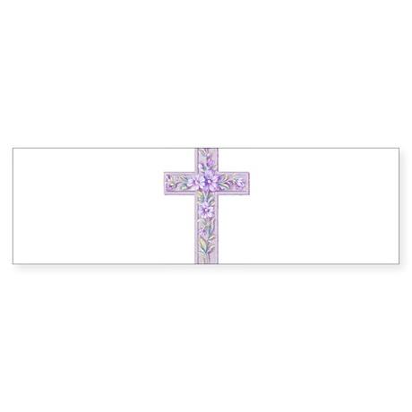 Purple Easter Cross Bumper Sticker