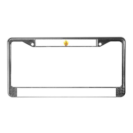 Flaming Double Bass License Plate Frame