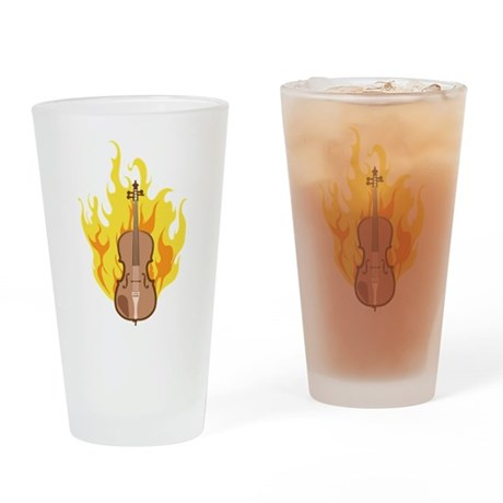 Flaming Double Bass Drinking Glass