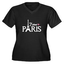 J'aime Paris Women's Plus Size V-Neck Dark T-Shirt