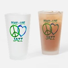 Peace Love Jazz Drinking Glass