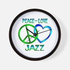 Peace Love Jazz Wall Clock
