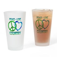 Peace Love Country Drinking Glass