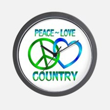 Peace Love Country Wall Clock