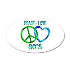 Peace Love 80's 35x21 Oval Wall Decal