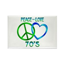 Peace Love 70's Rectangle Magnet