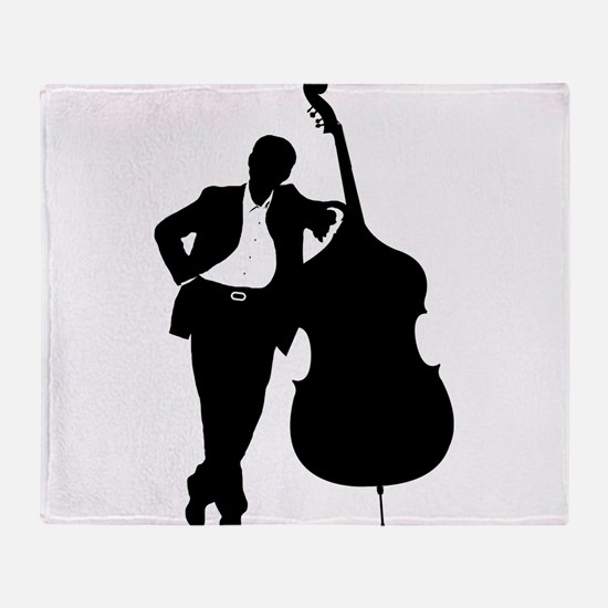 Man With Double Bass Throw Blanket