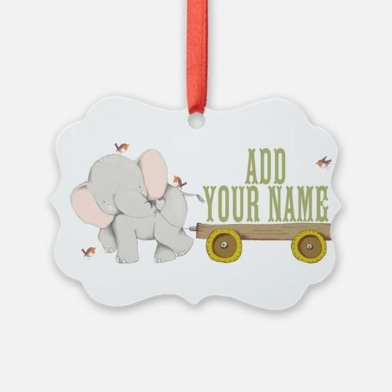 PERSONALIZED Cute Elephant Cart Ornament