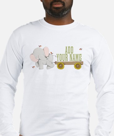 PERSONALIZED Cute Elephant Cart Long Sleeve T-Shir