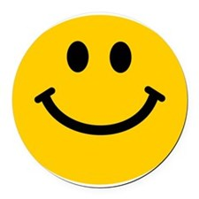 Yellow Smiley Face Round Car Magnet