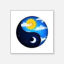 "Day Night Yin Yang Square Sticker 3"" x 3"""