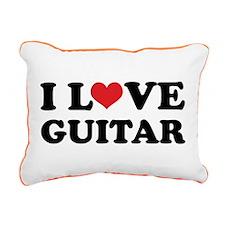 I Love Guitar Rectangular Canvas Pillow