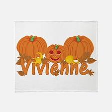 Halloween Pumpkin Vivienne Throw Blanket