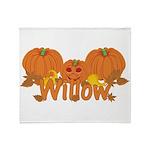 Halloween Pumpkin Willow Throw Blanket