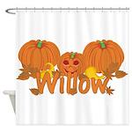 Halloween Pumpkin Willow Shower Curtain