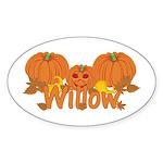 Halloween Pumpkin Willow Sticker (Oval)