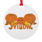 Halloween Pumpkin Willow Round Ornament