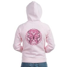 Butterfly Ribbon Breast Cancer Zip Hoodie