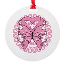 Butterfly Ribbon Breast Cancer Ornament