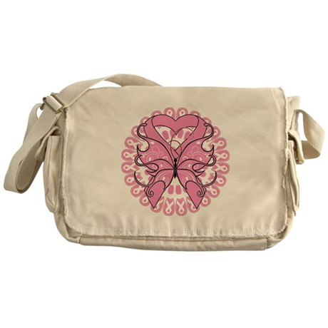 Butterfly Ribbon Breast Cancer Messenger Bag