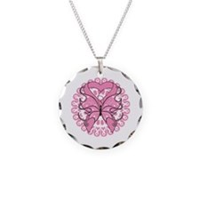Butterfly Ribbon Breast Cancer Necklace Circle Cha