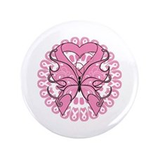 "Butterfly Ribbon Breast Cancer 3.5"" Button"