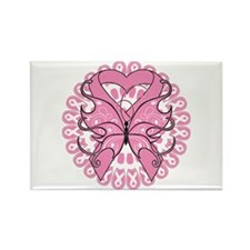 Butterfly Ribbon Breast Cancer Rectangle Magnet