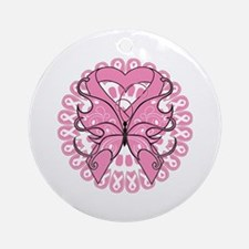 Butterfly Ribbon Breast Cancer Ornament (Round)