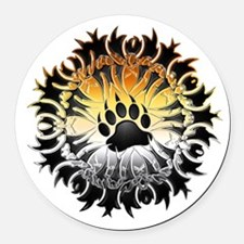 Tribal Bear Pride Paw Round Car Magnet