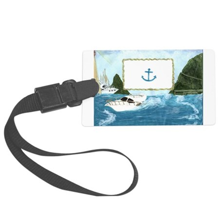 YachtingFrameWithAnchor.jpg Large Luggage Tag