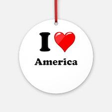 I Heart Love America Ornament (Round)