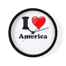 I Heart Love America Wall Clock
