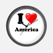 I Heart Love America Wall Clock