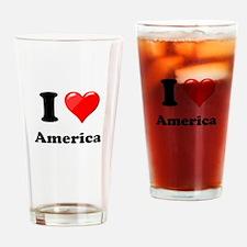 I Heart Love America Drinking Glass