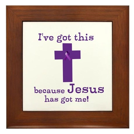 Purple Jesus Has Got Me Framed Tile