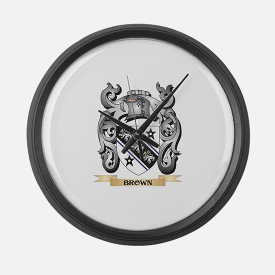 Brown Family Crest - Brown Coat o Large Wall Clock