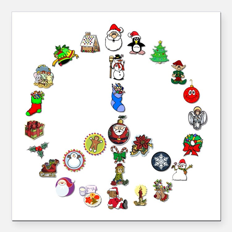 """Christmas Peace Sign Square Car Magnet 3"""" x 3"""""""