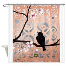 Elegant Dogwoods on Peach and Silver Shower Curtai