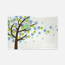 Blue Windy Tree Owl Rectangle Magnet