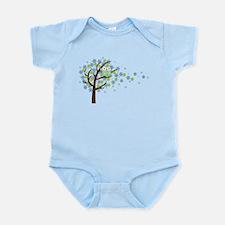 Blue Windy Tree Owl Infant Bodysuit