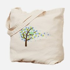 Blue Windy Tree Owl Tote Bag