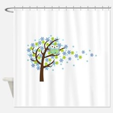 Blue Windy Tree Owl Shower Curtain