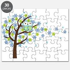 Blue Windy Tree Owl Puzzle