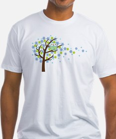 Blue Windy Tree Owl Shirt